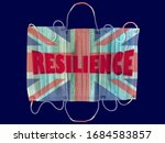 Small photo of Protective face masks with the English flag on background and the Word Resilience in red. Resilience concept in english language. Motivational message to be resilient in English.