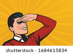 businessman looks ahead. retro... | Shutterstock .eps vector #1684615834
