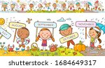 children with months signs and... | Shutterstock .eps vector #1684649317
