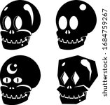 vector set of 4 skulls in black | Shutterstock .eps vector #1684759267