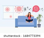 young girl sitting on a sofa... | Shutterstock .eps vector #1684773394