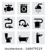 vector bathroom icon set | Shutterstock .eps vector #168479219