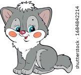 Grey Cat Cartoon Kitten Baby...