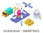 isometric delivery system... | Shutterstock .eps vector #1684873621