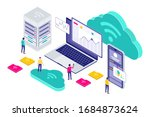isometric cloud technology... | Shutterstock .eps vector #1684873624