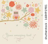cute background with flowers... | Shutterstock .eps vector #168491981