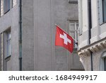 Swiss flag hanging from...