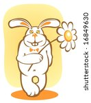 happy rabbit and chamomile on a ... | Shutterstock . vector #16849630