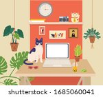 office workplace with computer  ... | Shutterstock .eps vector #1685060041