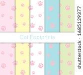 seamless cat footprints pattern ... | Shutterstock .eps vector #1685129377