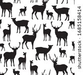 Black Silhouettes Of Red Deer...