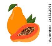 papaya isolated on white... | Shutterstock .eps vector #1685218081