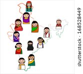 Indian woman vector avatar - Indian woman representing different states of India.