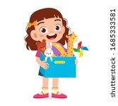 happy cute little kid girl... | Shutterstock .eps vector #1685333581