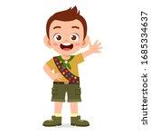 Happy Cute Little Kid Boy Wear...