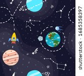 space pattern with planets and... | Shutterstock .eps vector #1685358397