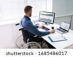 handicapped businessman sitting ... | Shutterstock . vector #1685486017
