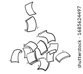 hand drawn falling paper sheets....   Shutterstock .eps vector #1685624497