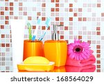 cosmetics and bath accessories... | Shutterstock . vector #168564029