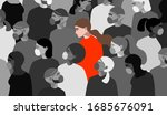 coronavirus in italy. greyscale ... | Shutterstock .eps vector #1685676091