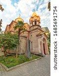 Armenian Apostolic Church Surb Kristos Amenaprkachekheci (Church of the Holy Christ of the Savior), built in 1898. It is located the center of Batumi. Religious architecture XIX century. Vertical.