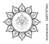 black and white round mandala...   Shutterstock .eps vector #1685747461