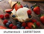 Vanilla Ice Cream Scoops With...