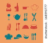 kitchen icons over pink... | Shutterstock .eps vector #168593777