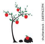 apples on tree and hedgehog... | Shutterstock .eps vector #1685962294