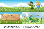 four background scenes with... | Shutterstock .eps vector #1686030964