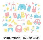 pretty baby toys pastel color... | Shutterstock .eps vector #1686052834
