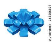 Blue Bow isolated on white background - stock photo