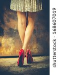 woman legs in red high heel... | Shutterstock . vector #168607019