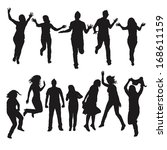 dynamic silhouette of people | Shutterstock .eps vector #168611159