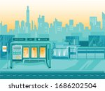 empty place with bus stop...   Shutterstock .eps vector #1686202504