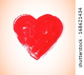 watercolor red heart  vector... | Shutterstock .eps vector #168621434