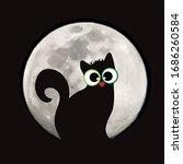 vector silhouette of cat on... | Shutterstock .eps vector #1686260584