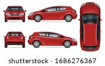 red hatchback car vector mockup ... | Shutterstock .eps vector #1686276367