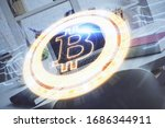 multi exposure of blockchain... | Shutterstock . vector #1686344911
