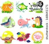 vector illustration of cute... | Shutterstock .eps vector #168641171