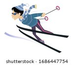 Young Skier Woman Illustration...