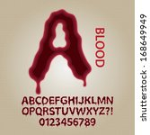 red blood alphabet and numbers... | Shutterstock .eps vector #168649949