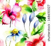 seamless wallpaper with summer... | Shutterstock . vector #168650327