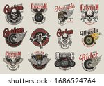 colorful motorcycle labels with ... | Shutterstock . vector #1686524764