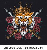 angry tiger head in crown with... | Shutterstock .eps vector #1686526234