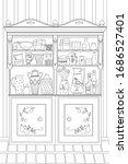 vintage kitchen cupboard with... | Shutterstock .eps vector #1686527401