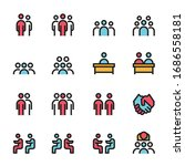 meeting icon line color vector... | Shutterstock .eps vector #1686558181