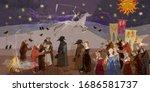 coronavirus art. terrible... | Shutterstock .eps vector #1686581737