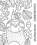 cute cartoon coloring page with ... | Shutterstock .eps vector #1686582424