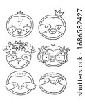 cute cartoon coloring page with ... | Shutterstock .eps vector #1686582427